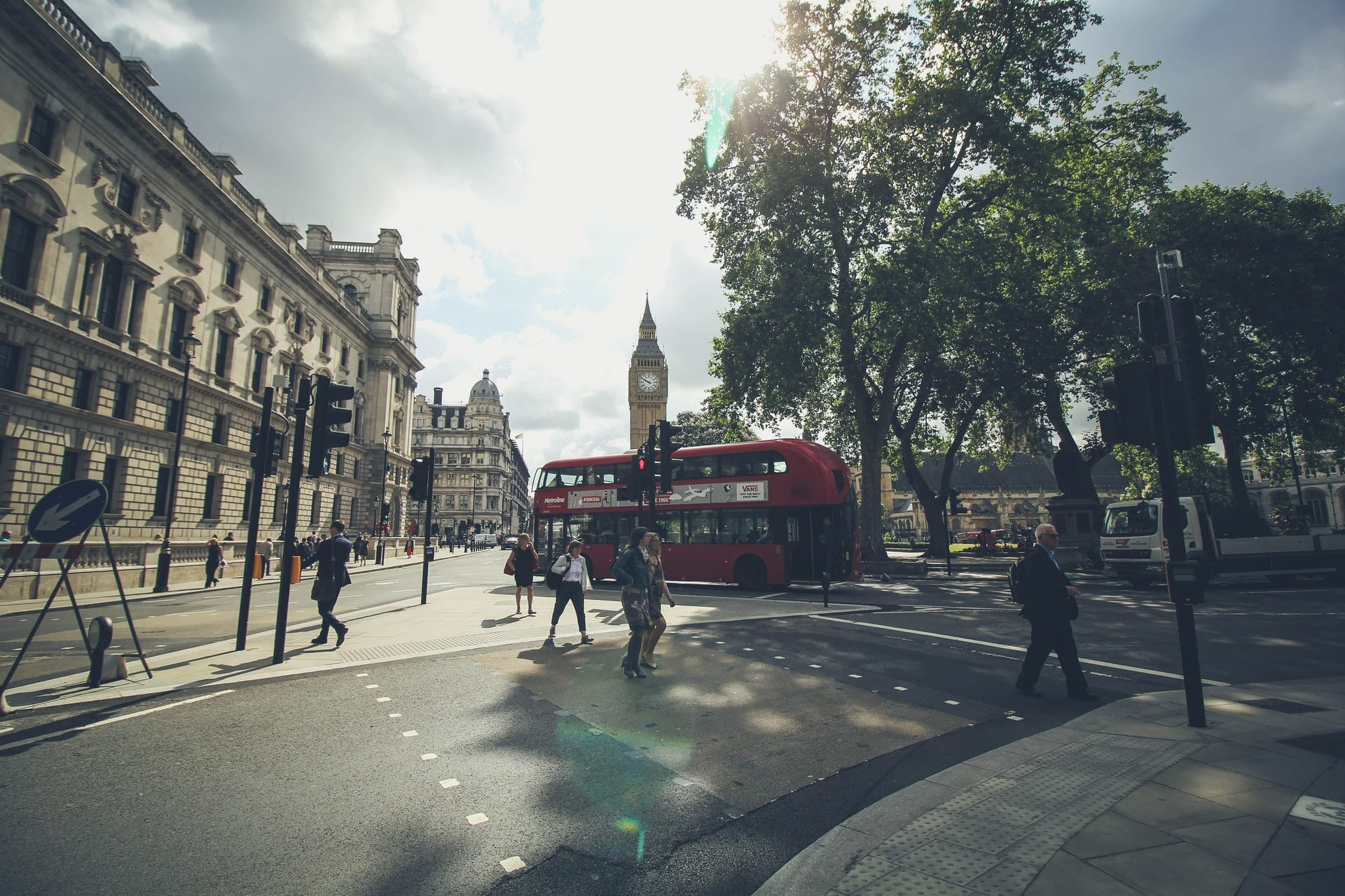 London street with red bus