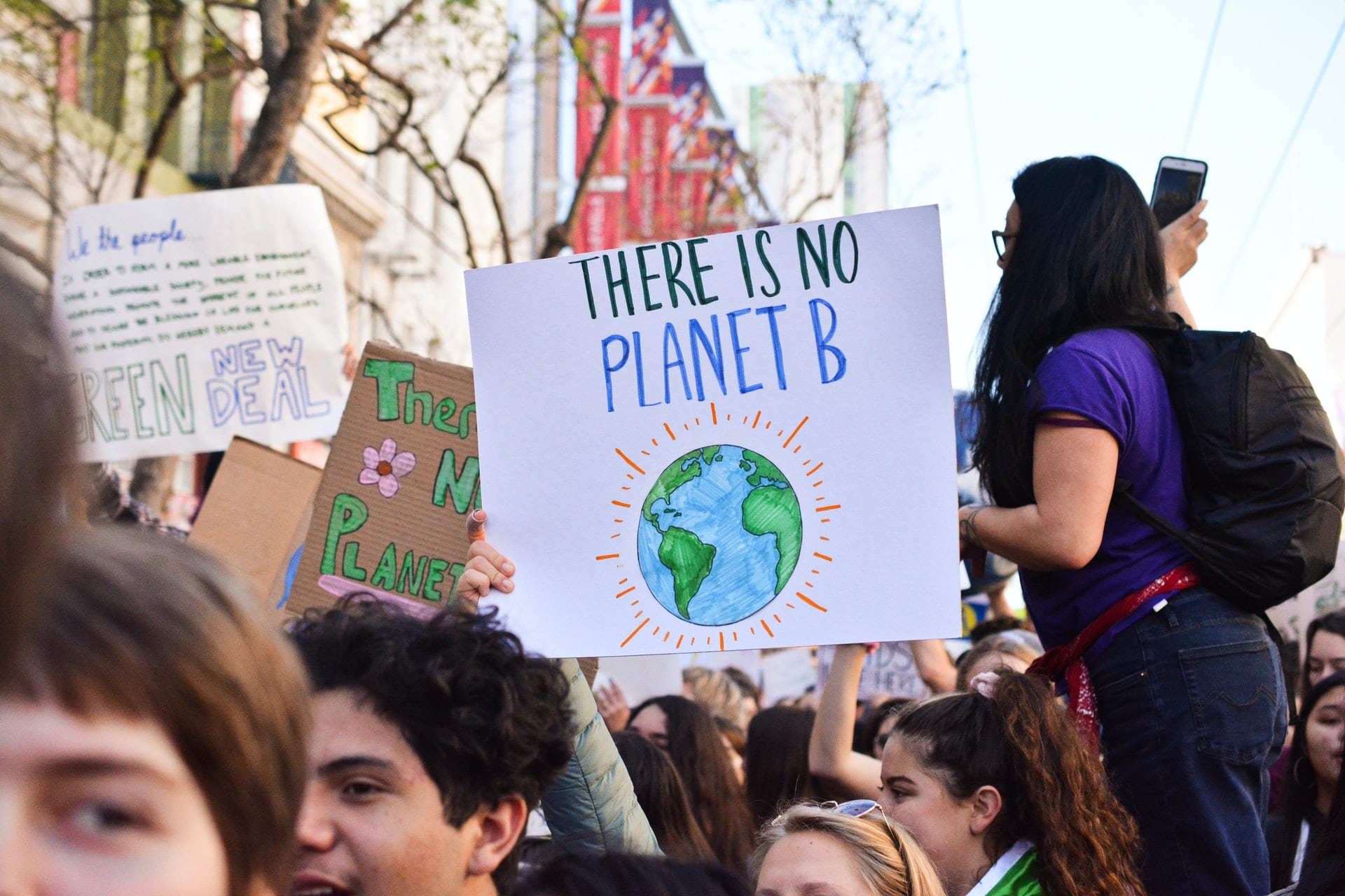 There is no planet B sign at a climate protest