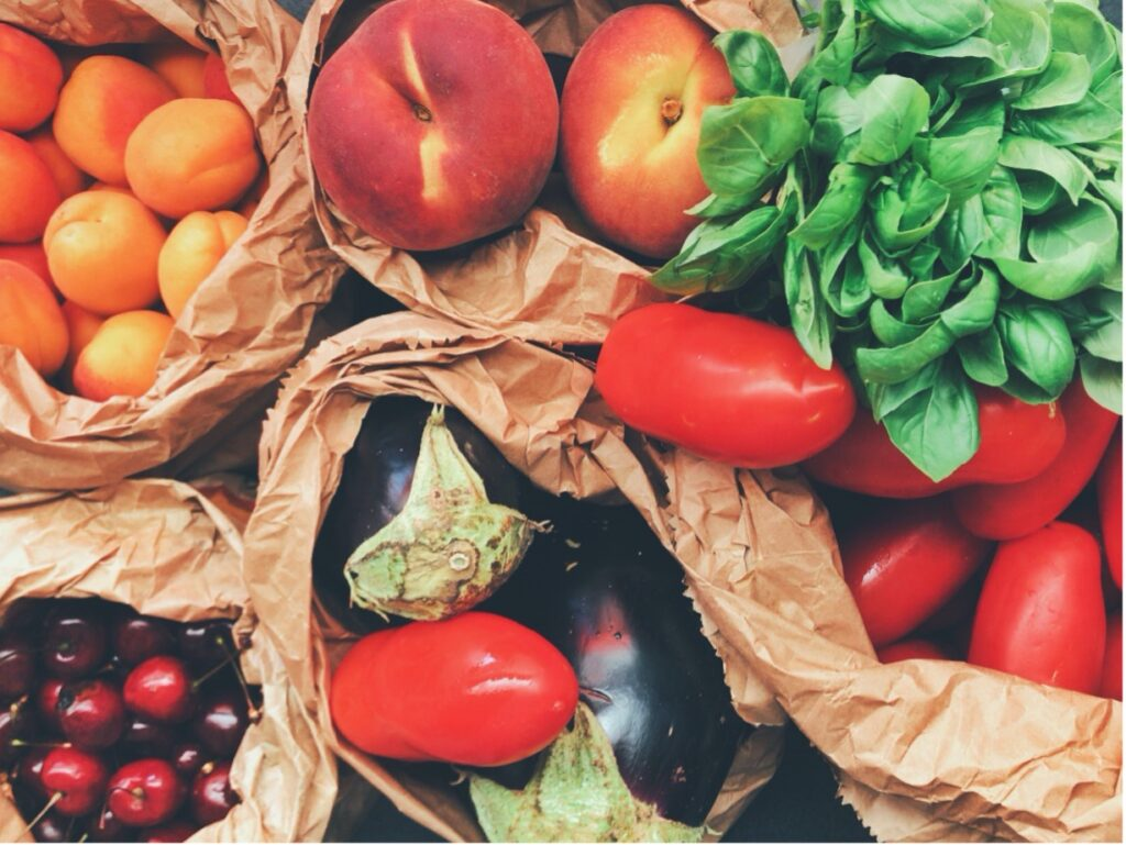 fruit and vegetables in paper bags